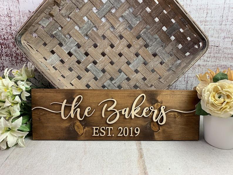 Wedding Gift  Family Name Sign  Bridal Shower Gift  Dark Walnut