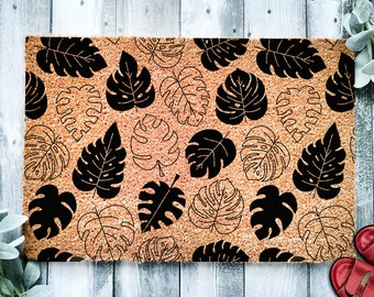 Monstera Leaf Pattern Door Mat | Tropical Leaf Doormat | Welcome Mat | Housewarming Gift | Plant Lover Gift | New Home | Closing Gift