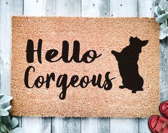 Hello Corgeous | Cute Corgi Doormat | Dog | Custom Doormat | Welcome Mat | Housewarming Gift | Welsh Corgi Doormat | Closing Gift Doormat
