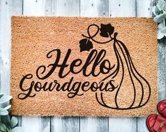 Hello Gourdgeous Door Mat   Fall Decor   Fall Doormat   Welcome Mat   Fall Door Mat   Fall Autumn Decor Gift   Home Doormat