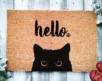 Black Cat Bombay Hello   Cute Cat Peeking Doormat   Welcome Mat   Funny Door Mat   Funny Gift   Home Doormat   Housewarming   Closing Gift