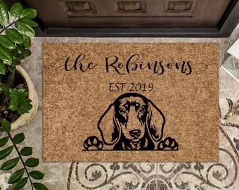 Dachshund Wiener Dog   Personalized Doormat   Custom Doormat   Welcome Mat   Housewarming Gift   Closing Gift   Last Name Door Mat   Puppy