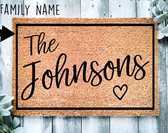 Heartful Housewarming Gift   Wedding Gift   Custom Doormat   Personalized Doormat   Closing Gift   Welcome   Front Door Mat   Monogram Rug