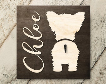 Personalized Name Yorkie 3D Name Cutout Leash Hook Holder | Wood Sign Hanger | Laser Wood Cutout Cut Name | Custom Name Sign