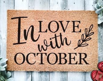 In Love With October Door Mat   Fall Decor   Fall Doormat   Welcome Mat   Fall Door Mat   Fall Autumn Decor Gift   Home Doormat