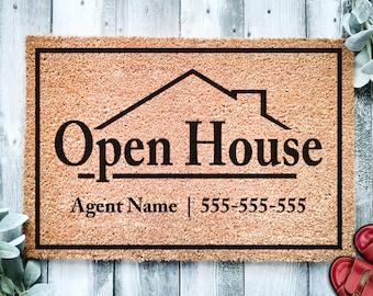 Open House Realtor Door Mat v2 | Open House Home Doormat | Business Doormat | House Selling Listing Front Door Mat | Real Estate Agent Gift
