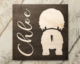 Personalized Name Cocker Spaniel 3D Name Cutout Leash Hook Holder | Wood Sign Hanger | Laser Wood Cutout Cut Name | Custom Name Sign