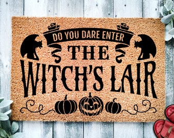 Do You Dare Enter The Witches Lair Door Mat   Funny Doormat   Welcome Mat   Halloween Decor   Funny Door Mat   Home Doormat   Halloween Mat
