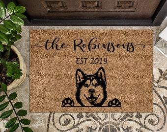 Siberian Husky Dog v2   Puppy   Personalized Doormat   Custom Doormat   Welcome Mat   Housewarming Gift   Closing Gift   Last Name Door Mat
