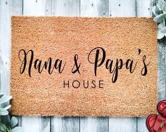 Customizable Grandparent's Day Gift for Grandparents | Nana and Papa's House | Grandpa Grandma Doormat | Nanny | Nana | Granny Door Mat