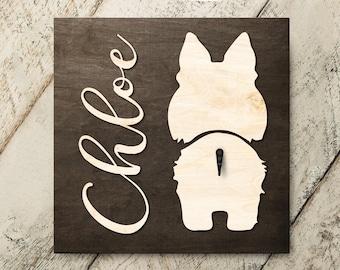 Personalized Name Sheltie v2 3D Name Cutout Leash Hook Holder | Wood Sign Hanger | Laser Wood Cutout Cut Name | Custom Name Sign