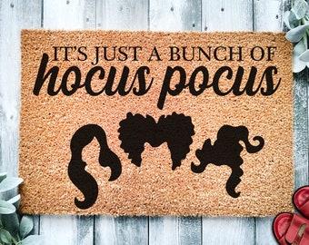 Its Just a Bunch of Hocus Pocus Door Mat   Halloween Doormat   Welcome Mat   Halloween Decor   Home Doormat   Halloween Welcome Mat