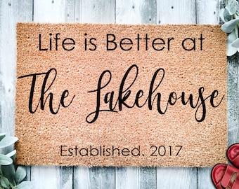 Custom Doormat   Lakehouse Doormat   Personalized Doormat   Housewarming Gift   Closing Gift   Welcome Doormat   Front Door Mat   Lake decor