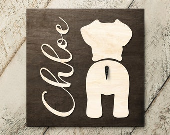 Personalized Name Schnauzer 3D Name Cutout Leash Hook Holder | Wood Sign Hanger | Laser Wood Cutout Cut Name | Custom Name Sign