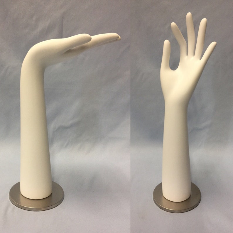 Hand Display Set 2 OK Palm Up Mannequin Jewelry Stand Nickel image 0