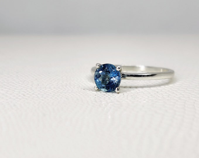 Sterling Silver 6mm Gift For Her Aquamarine Ring Natural Aquamarine Engagement Ring March birthstone Blue Aquamarine Solitaire Ring