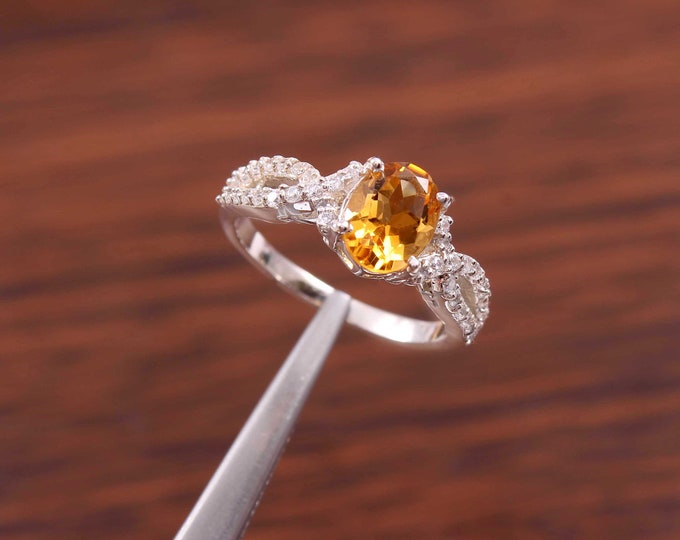 natural citrine ring oval cut November Birthstone sterling silver engagement ring yellow gemstone ring citrine ring everyday ring