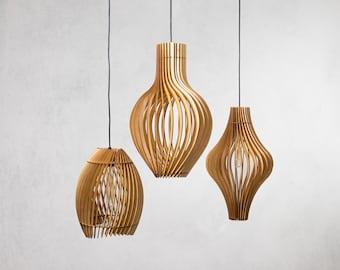 CLUSTER-Wood Pendant Light/ Hanging light / Modern Lamp / Light Fixture / Housewarming Gift / Ceiling Light / Wedding Gift / Chandelier