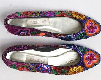 1e68ecb3b72 Vintage Nordstrom loafer shoes dressy heel sequins beads purple pink yellow  orange women s