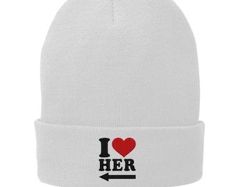 81873e4cdca I Love Her Winter Hat - Skull Cap - Beanie White 1140