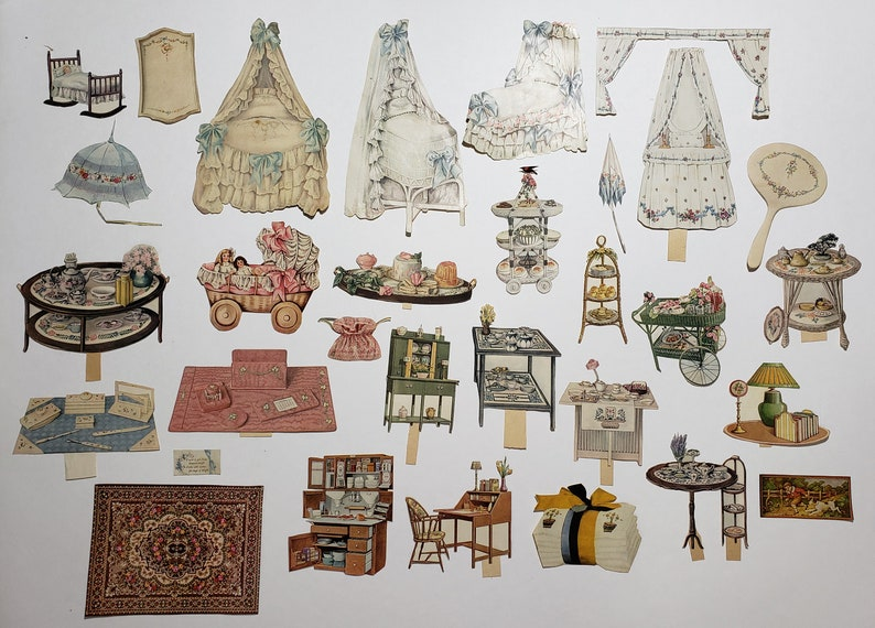 Antique Lot of 80 Play House Paper Doll Magazine Cutouts, Furniture Decor ~  RARE ~ Authentic!