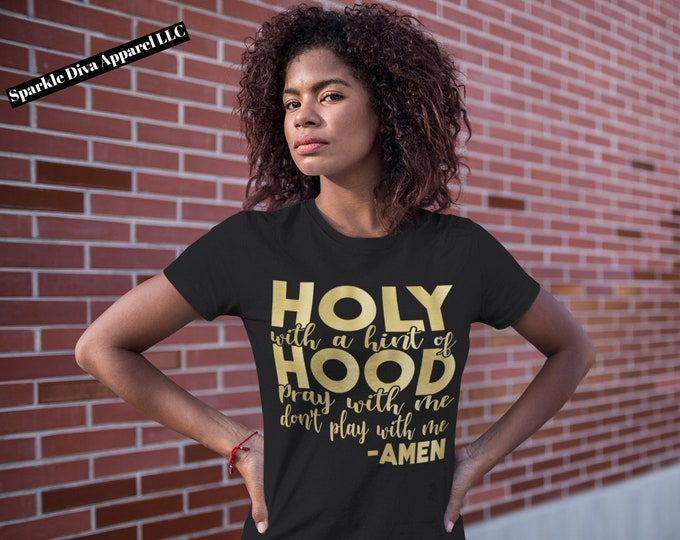 Holy with A Hint Of Hood Black Short Sleeve T-shirt For Women