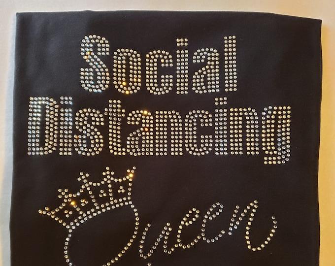 Social Distancing Bling Black Tshirt Women