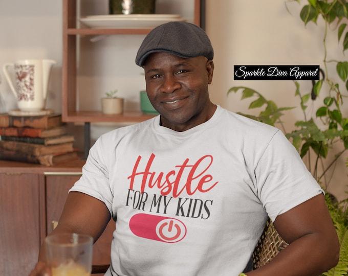 Men Hustle For My Kids White Cotton T-Shirt