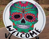 Metal Wreath Sign, Aluminum Sign, Sugar Skull Wreath Sign, Calavera Wreath Sign, Candy Skull Sign, Day of the Dead Sign, All Souls Day Sign