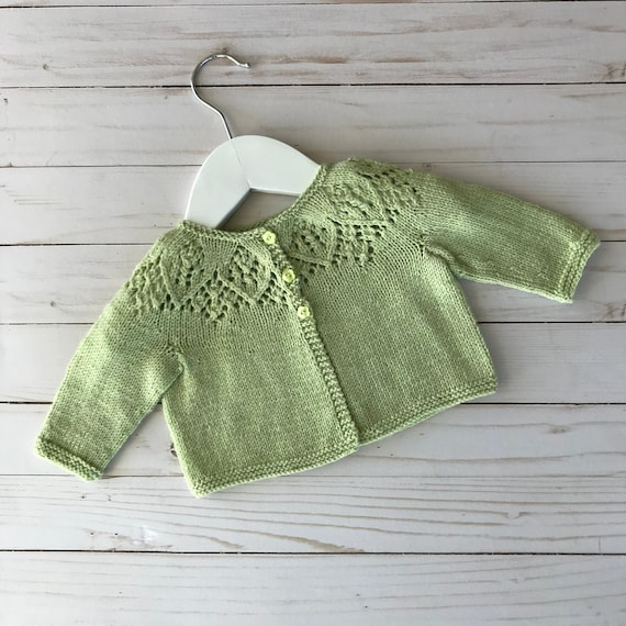 Hand Knitted Baby Cardigan//Coat With Lacy Yoke Size 0-3 Months.