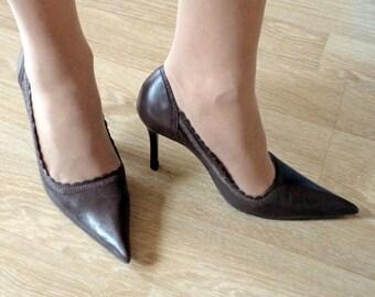 08efba8c02 Vintage Brazilian High Heel Shoes, Brown Leather Pumps, 80-90s Vintage  Classic High Heel Shoes, TCHOCO Shoes made in Brazil, ize US 6 EUR 37