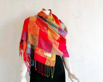 92ec881e1888c Vintage Pashmina Scarf, Floral Paisley Checkered Pashmina and Silk Shawl,  Indian Scarf, Orange Red Blue Green Scarf, Colorful Fringed Scarf