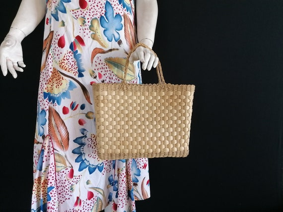 Retro Straw Handbag Woven Straw Bag Wicker Bag Vin