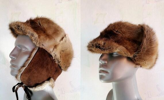 Vintage Muskrat Fur Hat, Unisex Winter Hat, Trappe