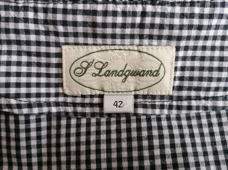 Vintage S/'Landgwand Black White Fine Squares Pattern Trachten Top Short Sleeves Blouse Adjustable Waist Front Button-down Embroidered Accent