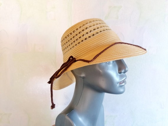 Vintage Straw Sun Hat, Straw Hat with Brown Rope,… - image 2