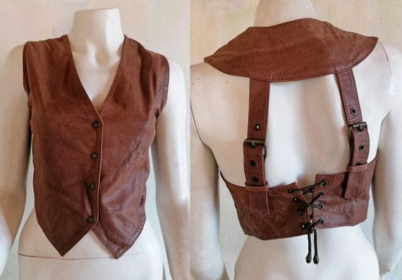 Rare FIOCCHI Leather Vest Women's Biker Vest Brown