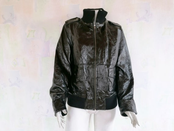 Vintage Black Patent Leather Jacket, Real Leather