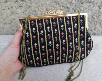 Gorgeous Retro Tapestry Purse, Floral Needlepoint Handbag, Gold Metal Frame Ornate Fastening on Top, Chain Strap, Evening Purse