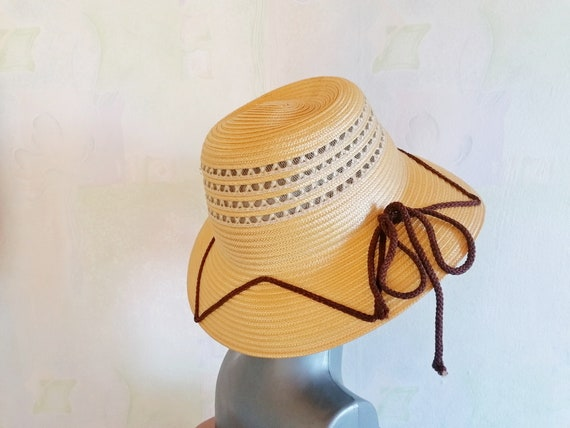 Vintage Straw Sun Hat, Straw Hat with Brown Rope,… - image 4
