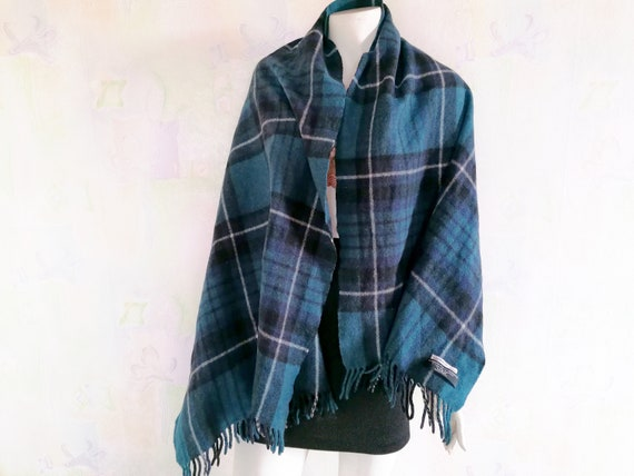 Holzweiler Check Scarf Blue Shades Wool Cashmere … - image 4