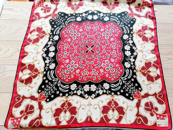 Vintage VAKKO Colorful Floral Silk Scarf Neck Scar