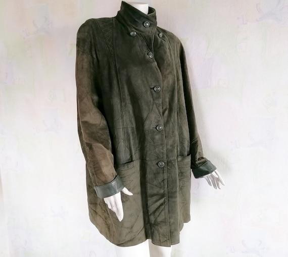 Women's Green Suede Leather Jacket Vintage Winter
