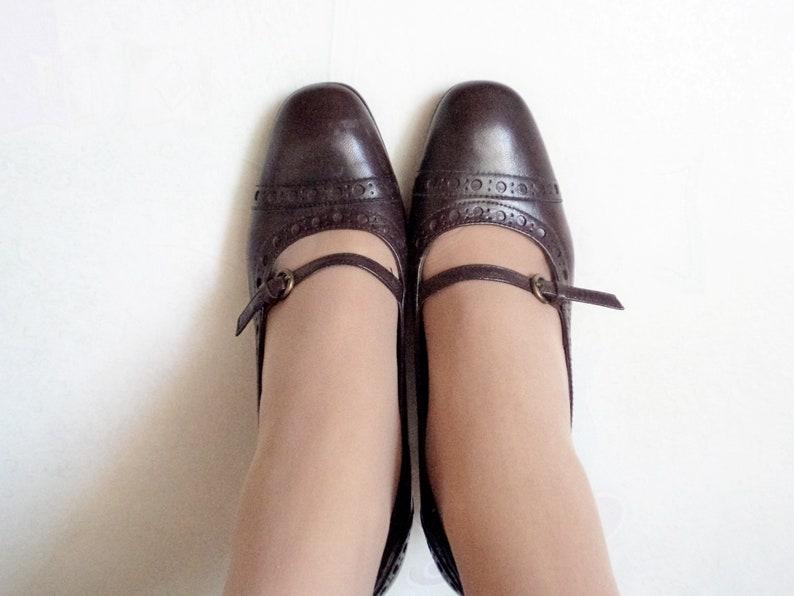 Vintage Tamaris Mid Heel Shoes, Brown Genuine Leather TAMARIS Shoes, 80's Casual Ladies High Heel Shoes, Vintage Style for Her