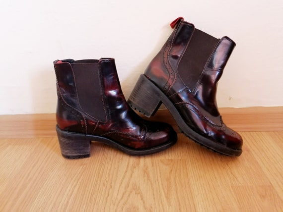 Vintage BIANCO Ankle Boots Red Brown Real Leather