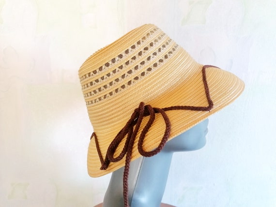 Vintage Straw Sun Hat, Straw Hat with Brown Rope,… - image 7