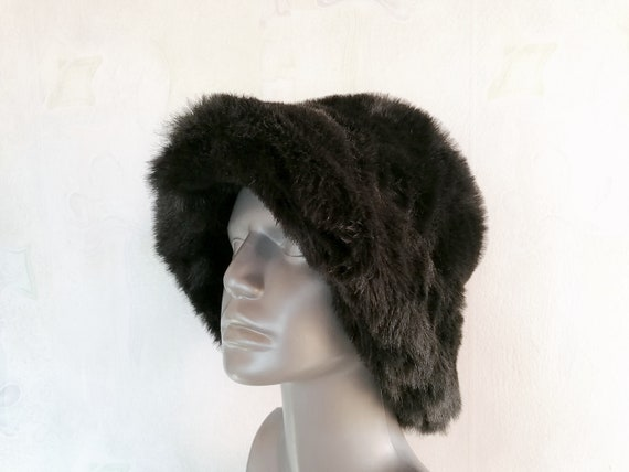 Vintage Winter Hat, Eco Fur Hat, Black Bucket Faux