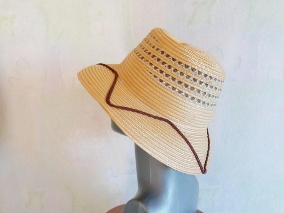 Vintage Straw Sun Hat, Straw Hat with Brown Rope,… - image 5