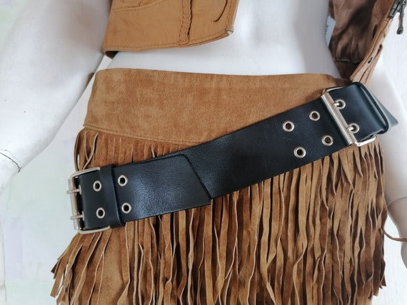 Vintage western style snake skin belt with two interchangable belt buckles Engraved silver and brass belt buckle with charging eagle.