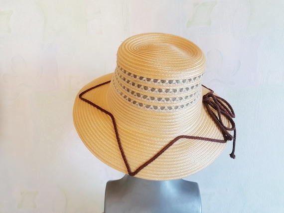 Vintage Straw Sun Hat, Straw Hat with Brown Rope,… - image 1